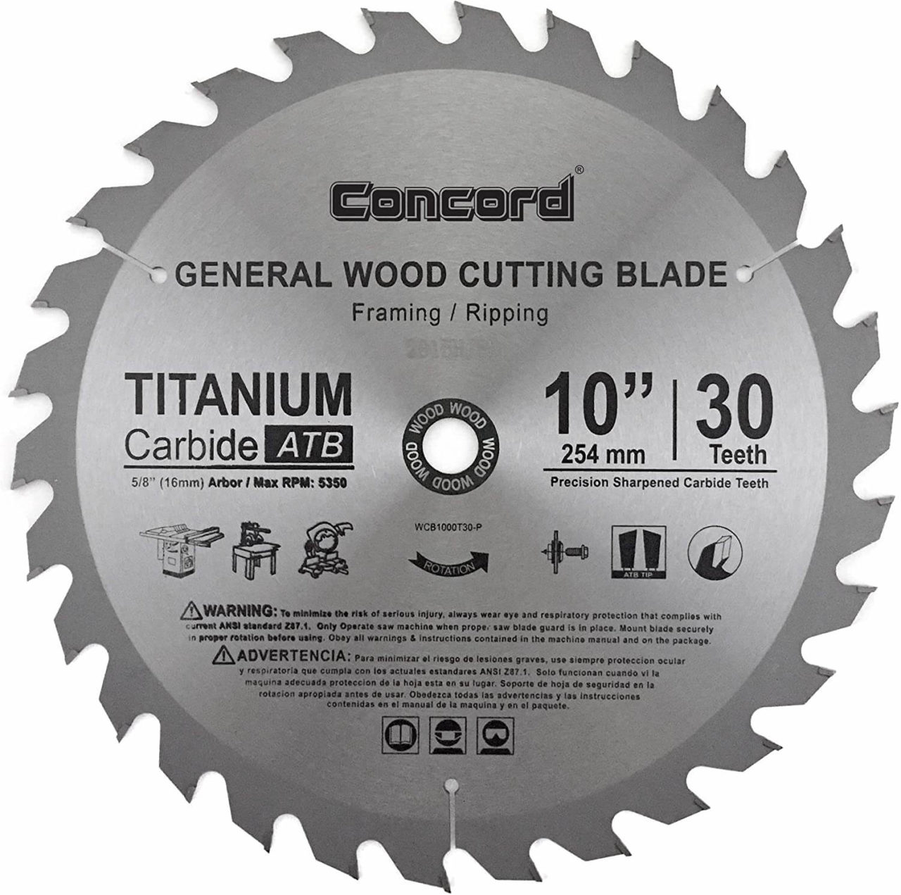 Concord Blades WCB1000T030HP - Best Table Saw Blade for Ripping Hardwood